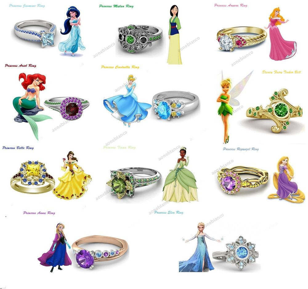 Womens 925 Sterling Silver Multi Color Stone Disney Princess Engagement Ring