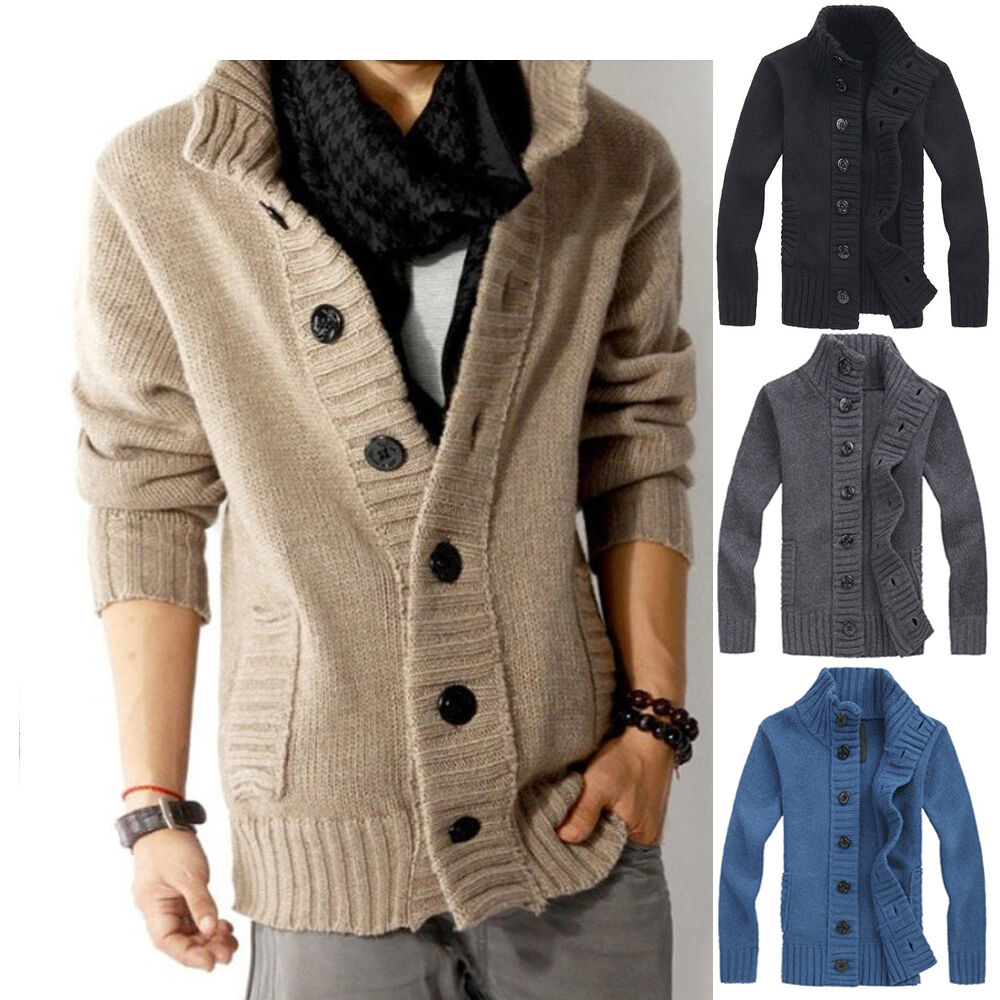 Stylish Mens Casual Cardigan Thick Warm Sweater Knitted ...