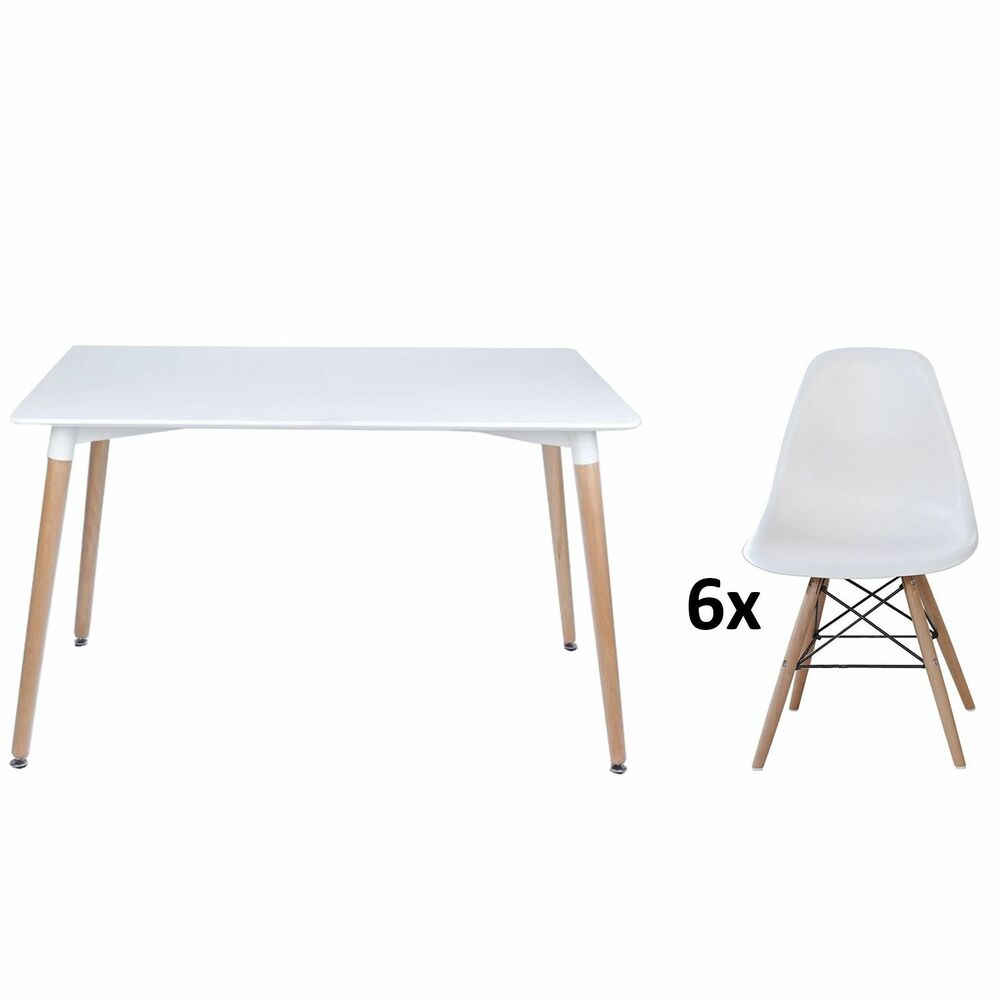 Eiffel Halo Set Dining Table Rectangle Large 6 Chairs White Moda STRONGER