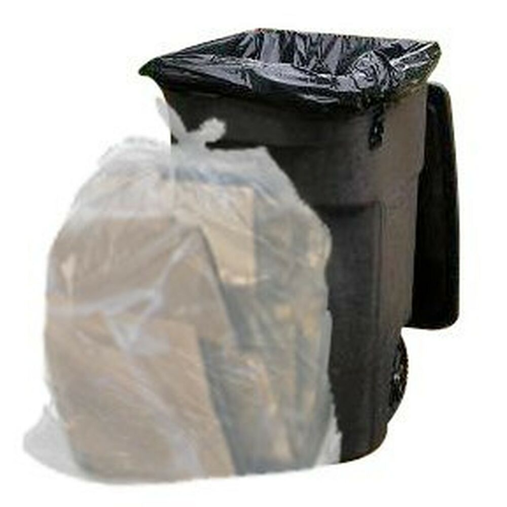 64 gallon trash bags for toter clear 100 garbage bags per case ebay. Black Bedroom Furniture Sets. Home Design Ideas