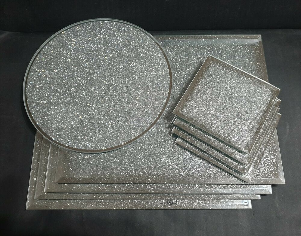 New silver shimmer mirrored glass placemats and coaster for Glass table placemats