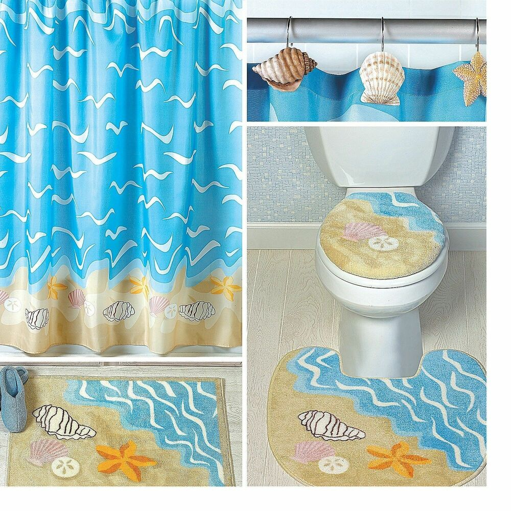 Seashell shell starfish sand dollar shower curtain bath for Seashell bathroom accessories