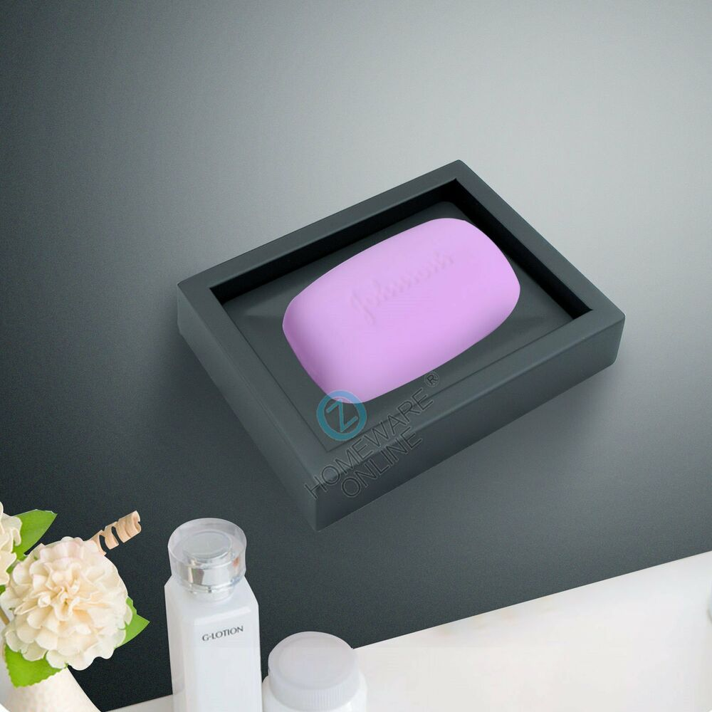 Shower soap dish tray matt black stainless steel bathroom for Bathroom accessories with tray