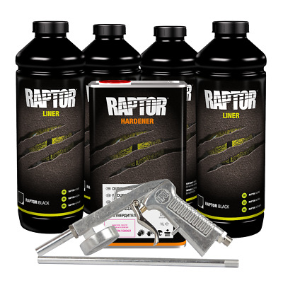 U-Pol 820V & 726 VOC Raptor Black Urethane Spray-On Truck Bed Liner Kit GUN 4 L