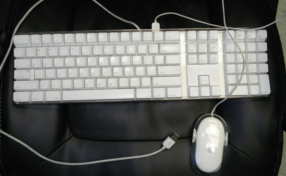 apple mac white usb wired keyboard mouse imac g3 g4 g5 emac a1048 m5769 ebay. Black Bedroom Furniture Sets. Home Design Ideas