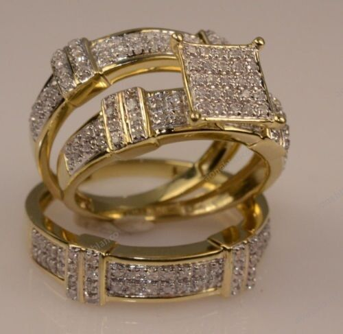 k solid yellow gold over ct round diamond trio ring