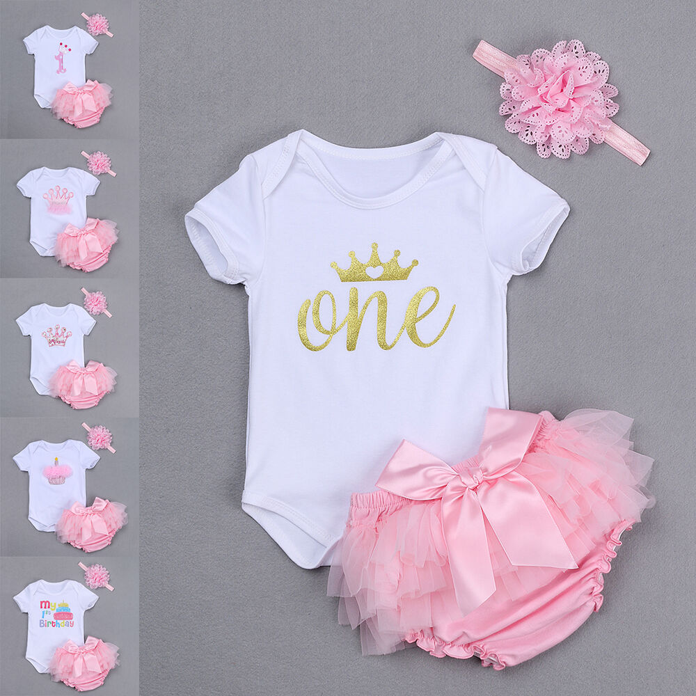 3pcs Baby Girl 1st Birthday Romper Jumpsuit Headband