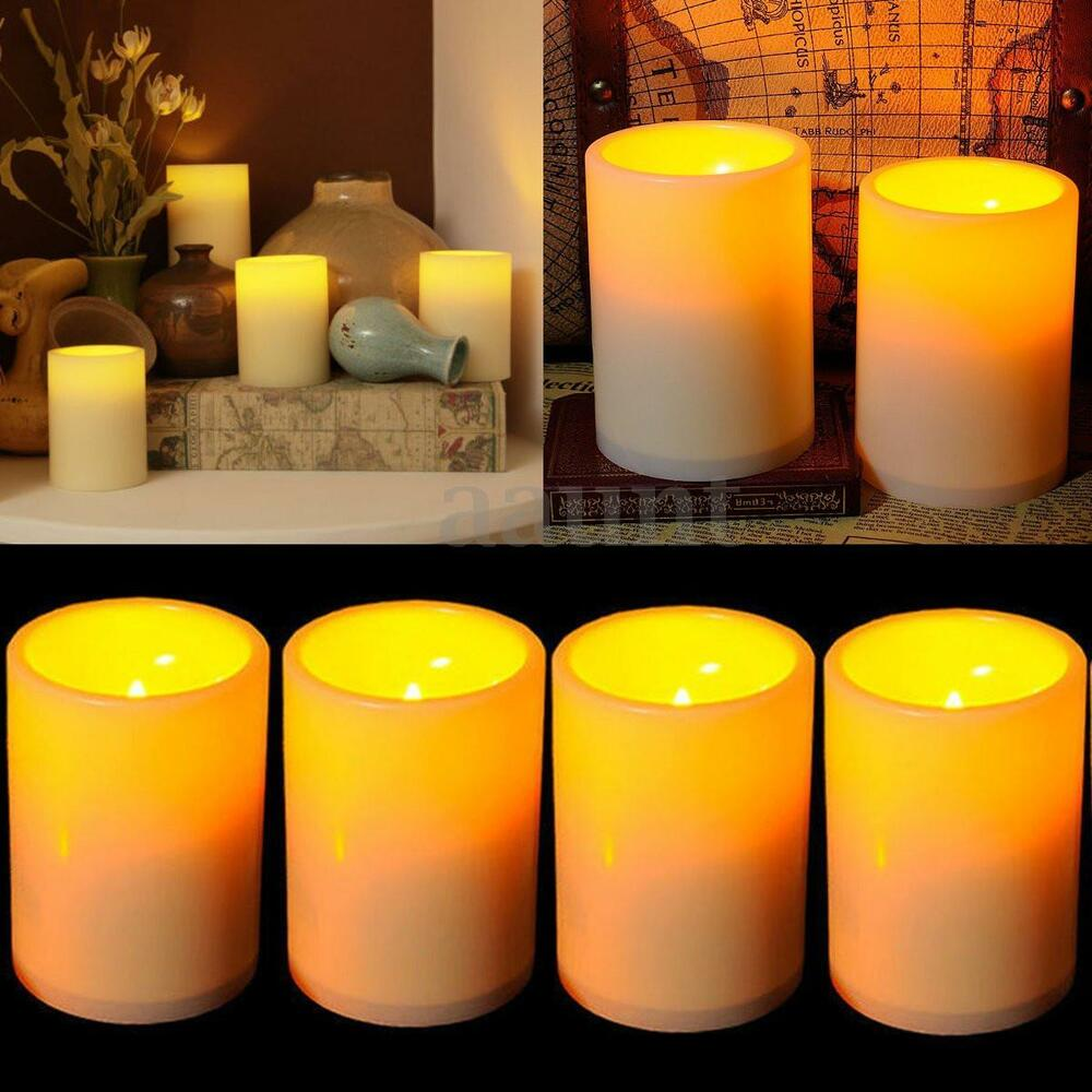 10x Flameless Resin Pillar Led Candles Flickering Light