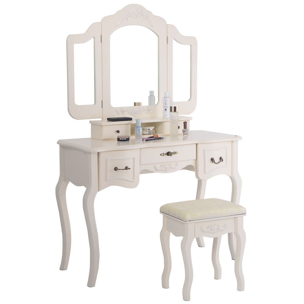 Tri Folding Vintage White Vanity Makeup Dressing Table Set