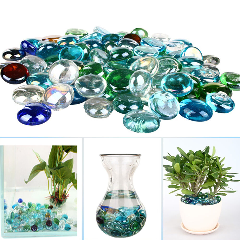 Colorful round pebbles beads stones glass nugget for fish for Fish tank stones
