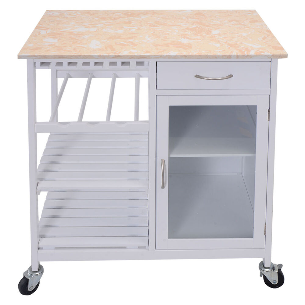 Kitchen rolling cart faux marble top island serving Kitchen utility island