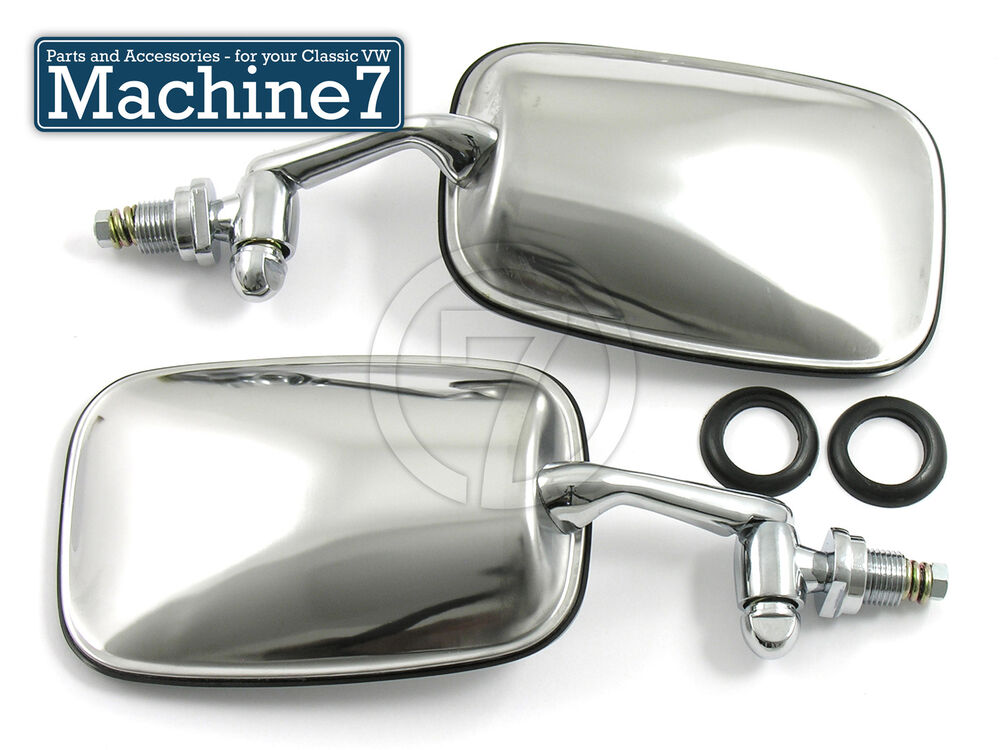 Classic vw beetle mirrors chrome door wing mirror set bug for Classic mirror