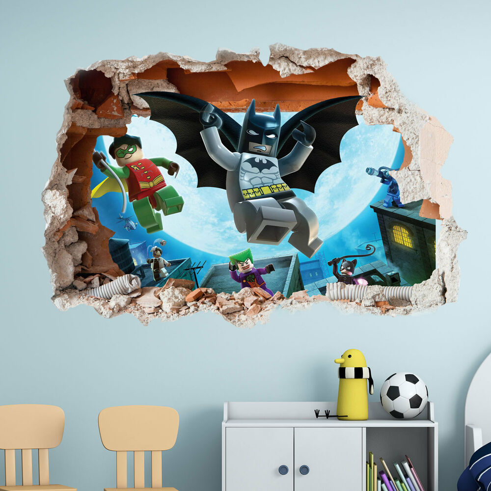 Lego batman wall sticker 3d boys girls bedroom vinyl for Batman mural wallpaper uk