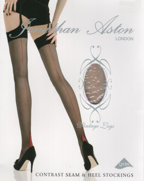 8abcb7d6e00 3 pairs Jonathan Aston Contrast Seamed Stockings - Nude   Violet