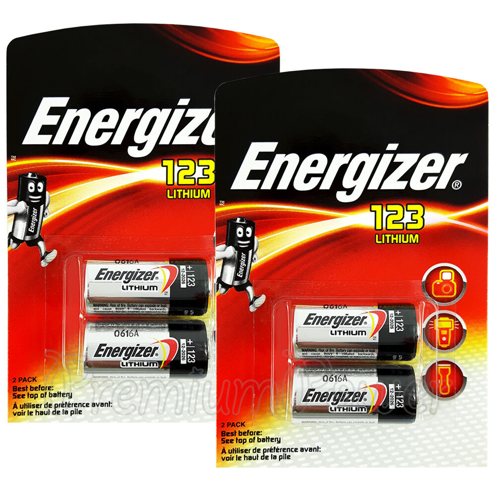4 X Energizer Lithium Cr123 Batteries 3v 123a Cr17345 El123 Camera