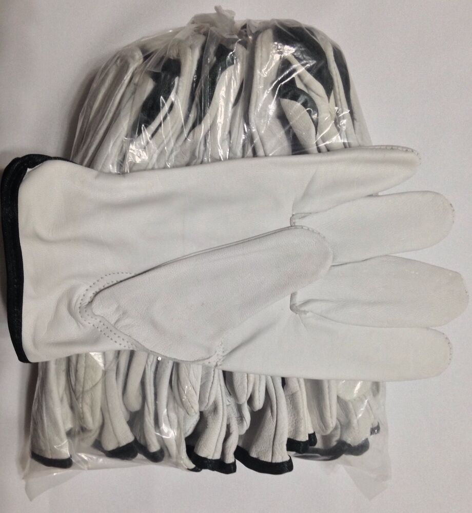 Goat leather work gloves - 12 Pair Pack Goat Skin Grain Leather Drivers Work Safety Gloves Ppe