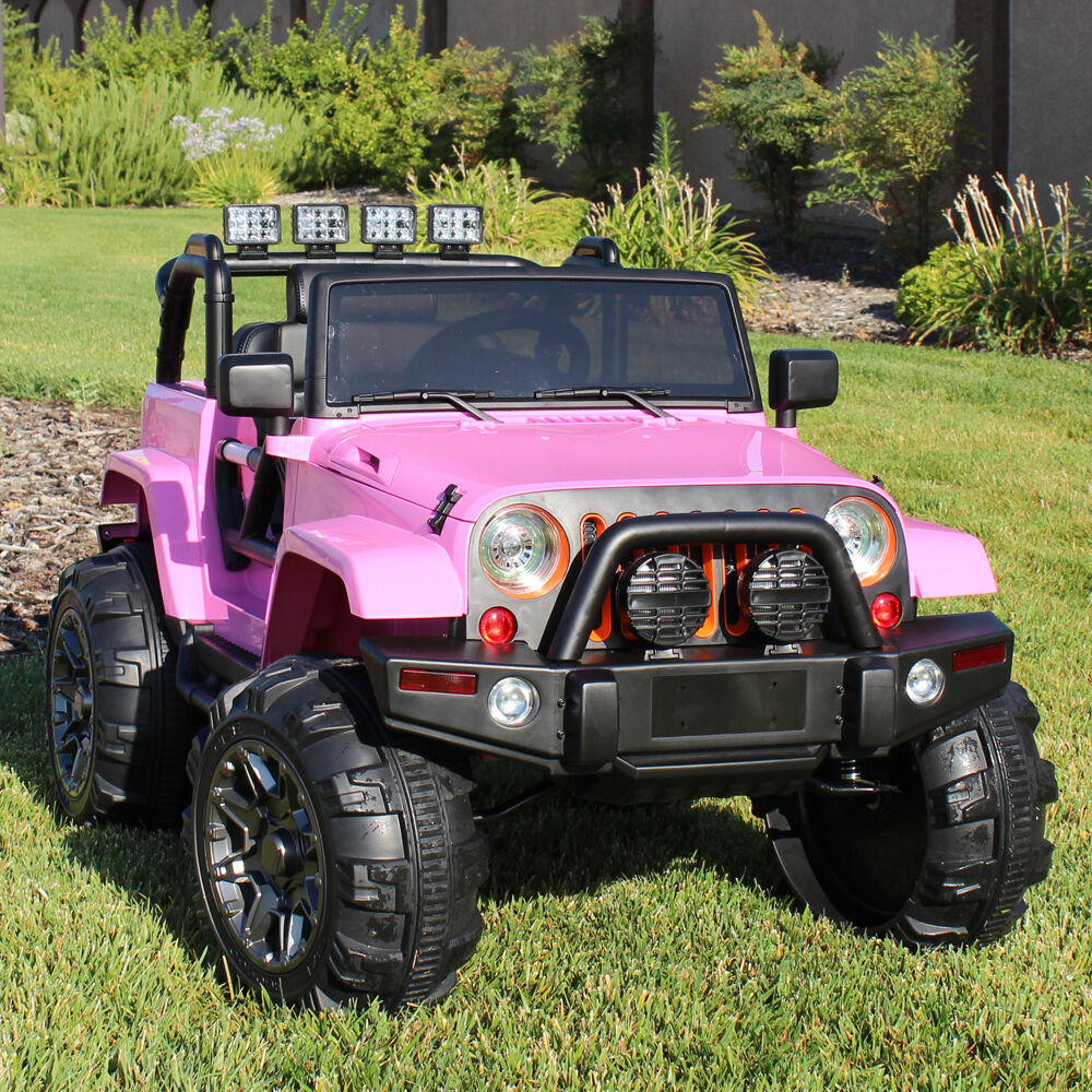 Ride on car 12v kids power wheels jeep truck remote for Pink mercedes benz power wheels