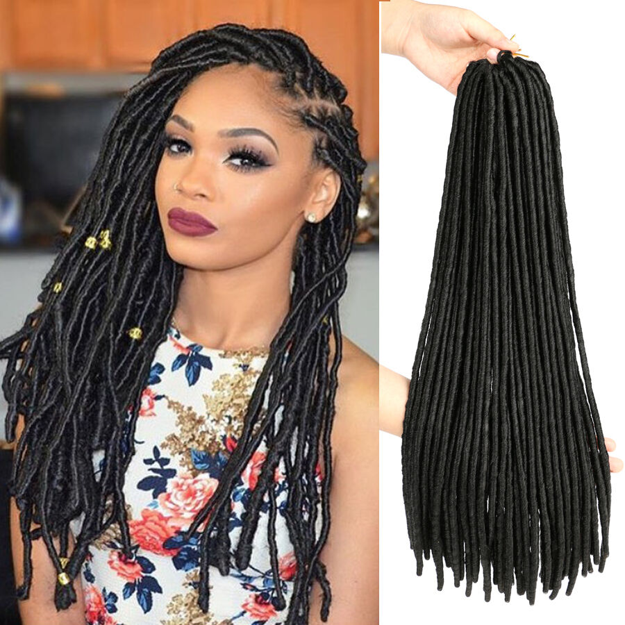 18 dreadlock faux locs braid hair crochet braids black for Salon locks twists tresses