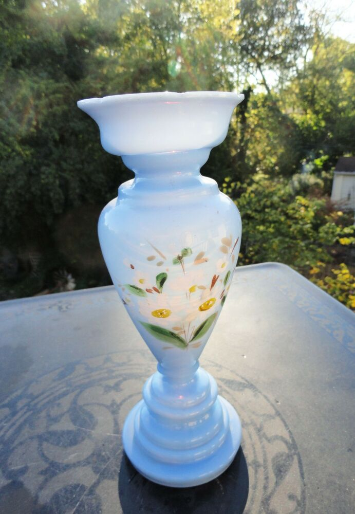 Antique Bristol Blue Milk Glass Hand Painted Vase Victorian Beauty Ebay