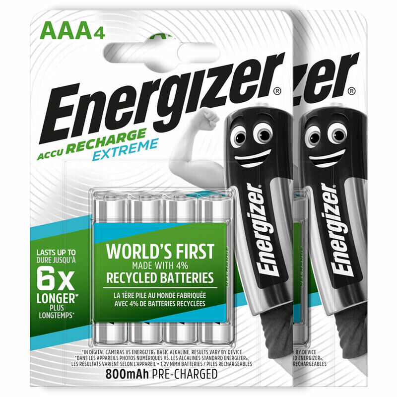 8 x energizer rechargeable aaa batteries accu recharge extreme nimh 800mah hr03 ebay. Black Bedroom Furniture Sets. Home Design Ideas