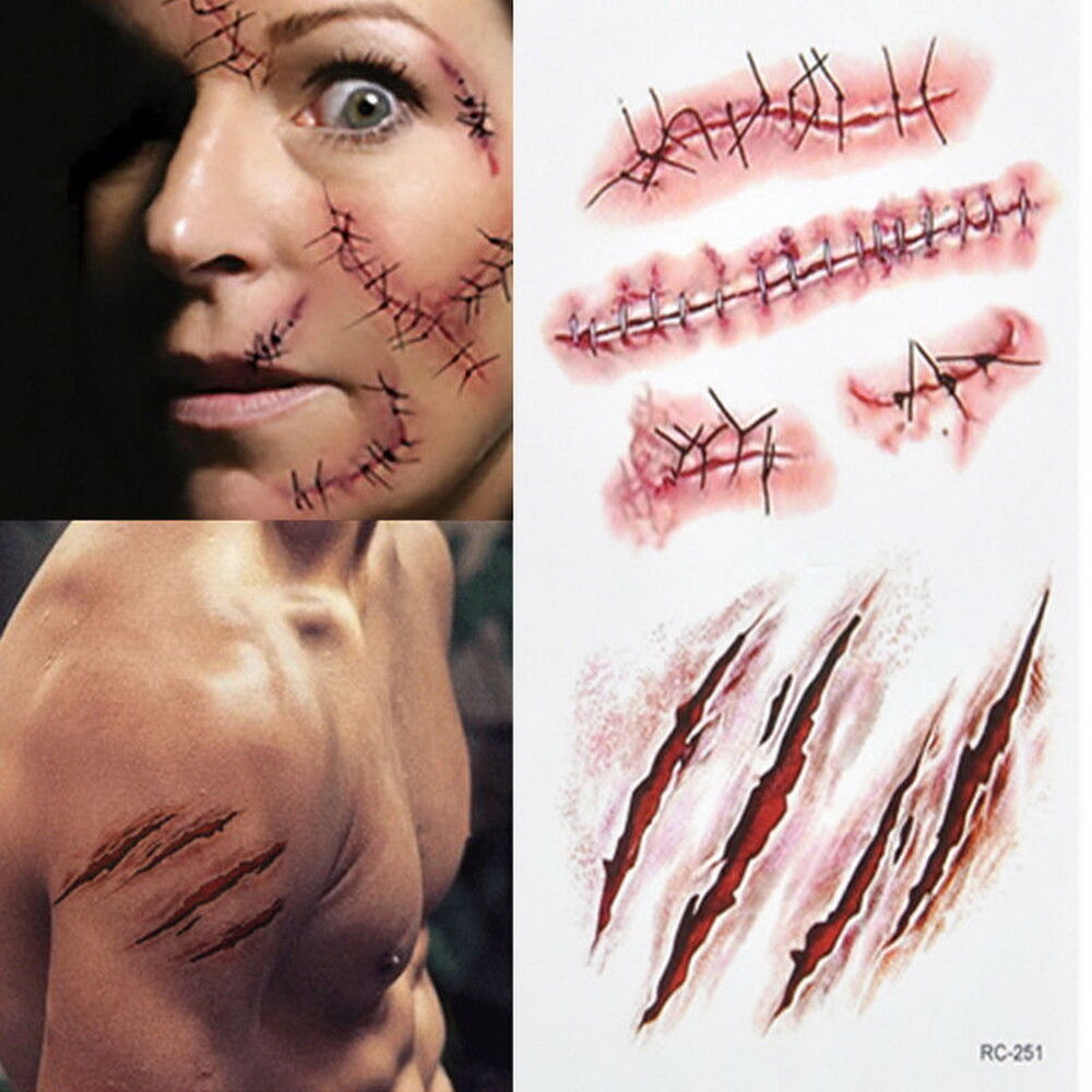 Blood body scab halloween dress scar tattoo zombie cuts for Face tattoo makeup