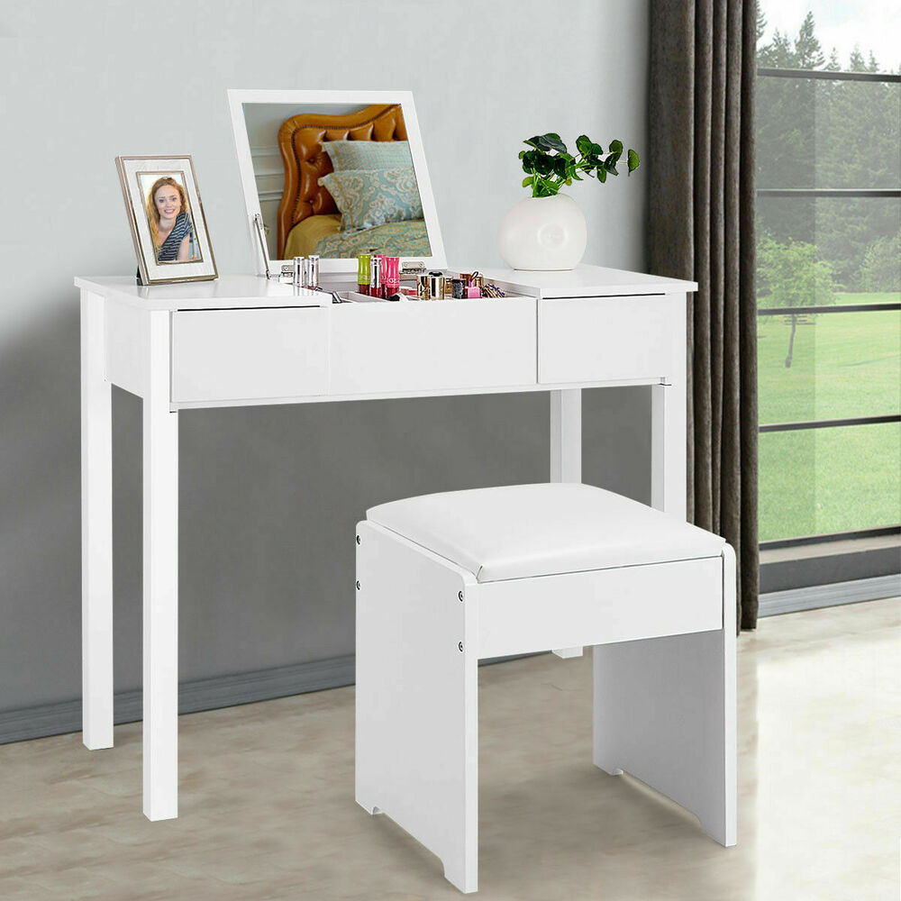 White vanity dressing table set mirrored bedroom furniture for Vanity table set