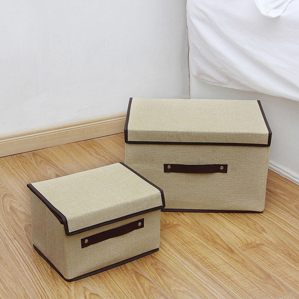 cotton linen foldable clothing storage box with lid container organizer fabric ebay. Black Bedroom Furniture Sets. Home Design Ideas