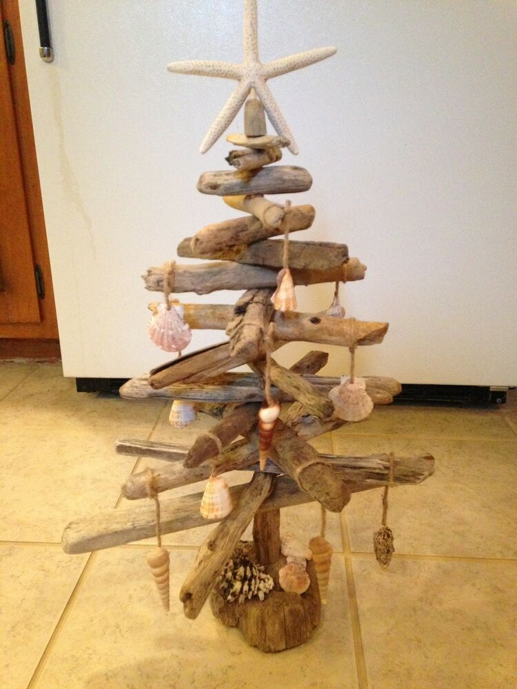 Driftwood christmas tree with seashell ornaments handmade for How to make a hanging driftwood christmas tree