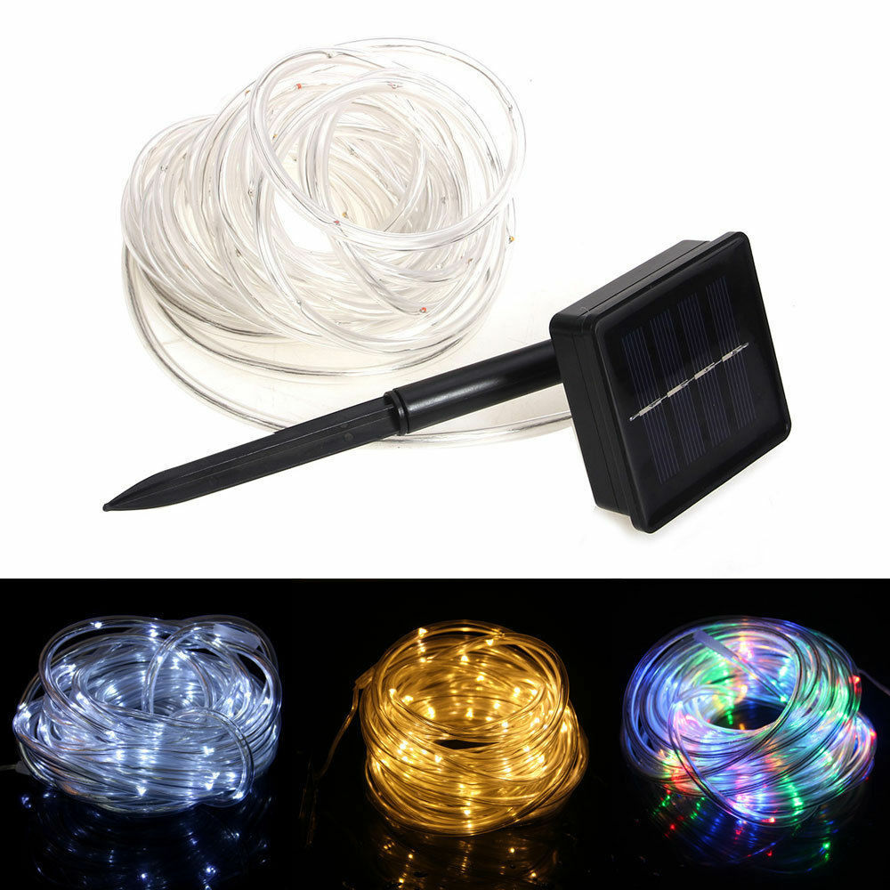 solar powered rope 100 led tube garden outdoor fairy xmas string light tree lamp ebay. Black Bedroom Furniture Sets. Home Design Ideas
