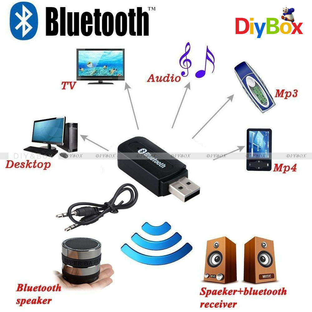 wireless bluetooth aux audio stereo music home car receiver adapter mic ebay. Black Bedroom Furniture Sets. Home Design Ideas