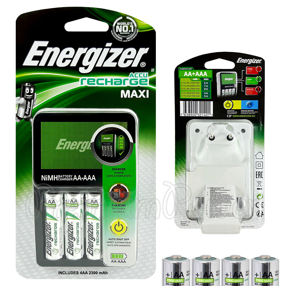 energizer maxi charger for aaa aa nimh 4 aa 2300 mah. Black Bedroom Furniture Sets. Home Design Ideas