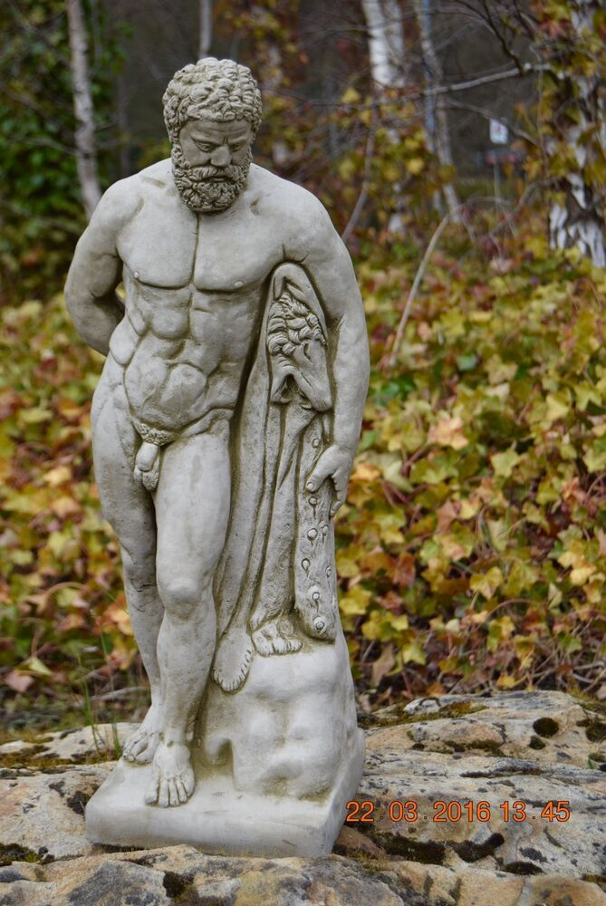 Hercules amazing large statue stone cast handmade garden for Large garden rocks for sale