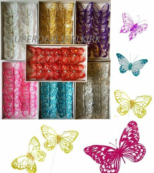 Box of 12 8cm clip on jewelled glitter butterflies for Butterflies for crafts and decoration