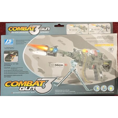img-Combat 3 Army Machine Gun Pistol With Lights And Sounds Kids Toy Pack Of 2