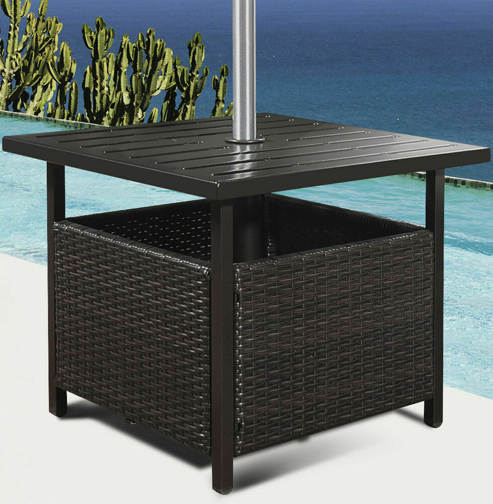Brown rattan wicker steel side table outdoor furniture for Wicker patio table