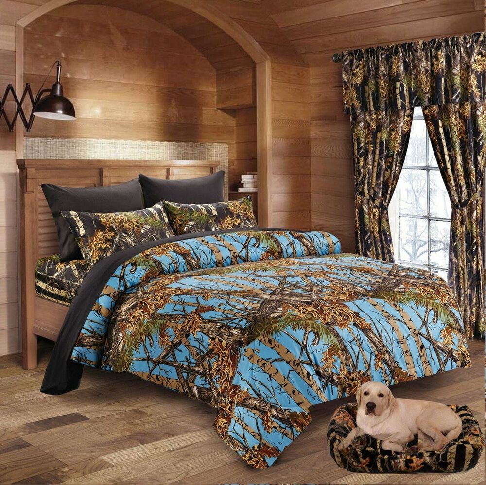 7pc Full Powder Blue Camo Comforter And Black Sheet Set