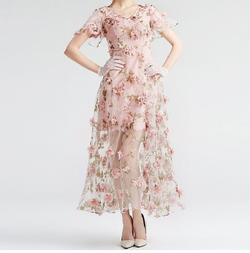 3D FLORAL AND PRINTED DESIGN BRIDAL DRESS CHIFFON LACE
