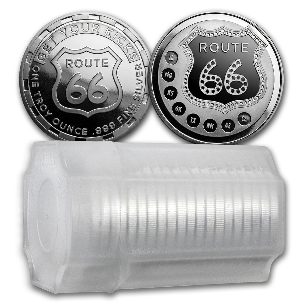1 Oz Silver Route 66 Round Lot Roll Tube Of 20 Sku