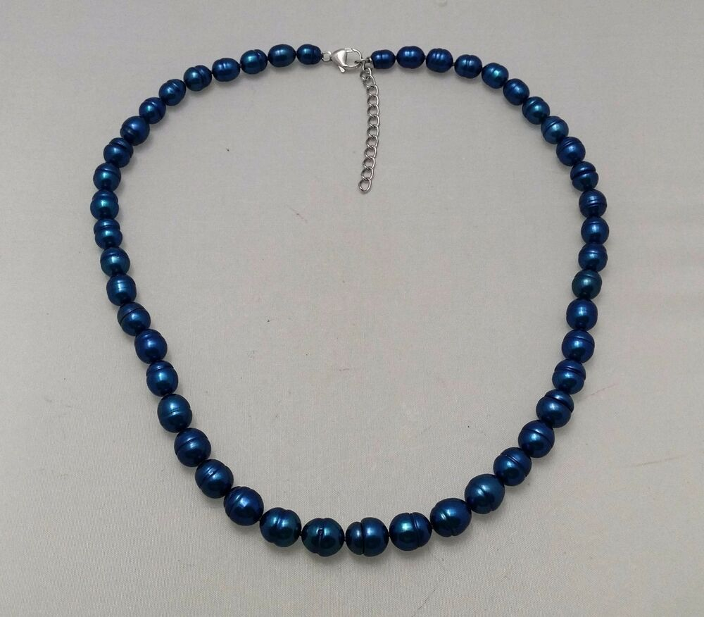 Pearl Necklace Clasp: New Honora Freshwater Cultured Indigo Blue Pearl 18
