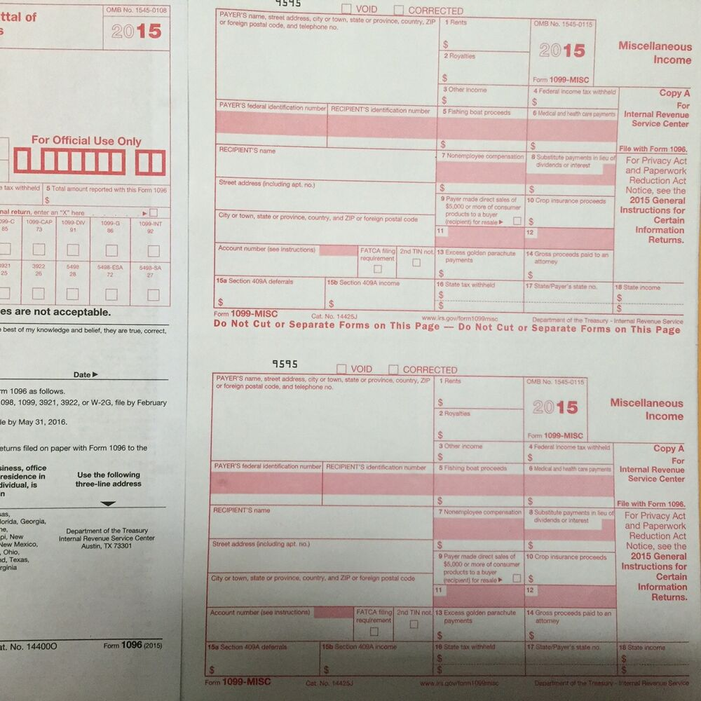 Year 2015 IRS Tax Forms 14) 1099-MISC Miscellaneous Income