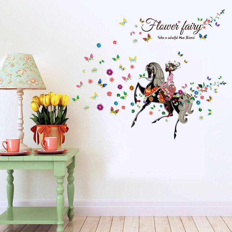 Flower Fairy Butterfly Horse Girls Cartoon Kids Room Decor Wall Sticker Decals Ebay