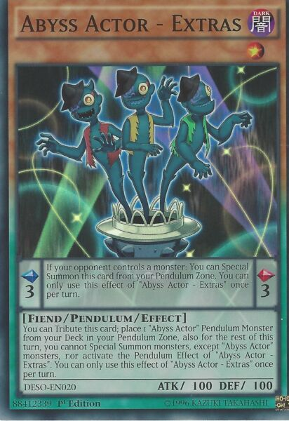 YU-GI-OH CARD SUPER RARE: ABYSS ACTOR - EXTRAS - DESO-EN020 1ST EDITION