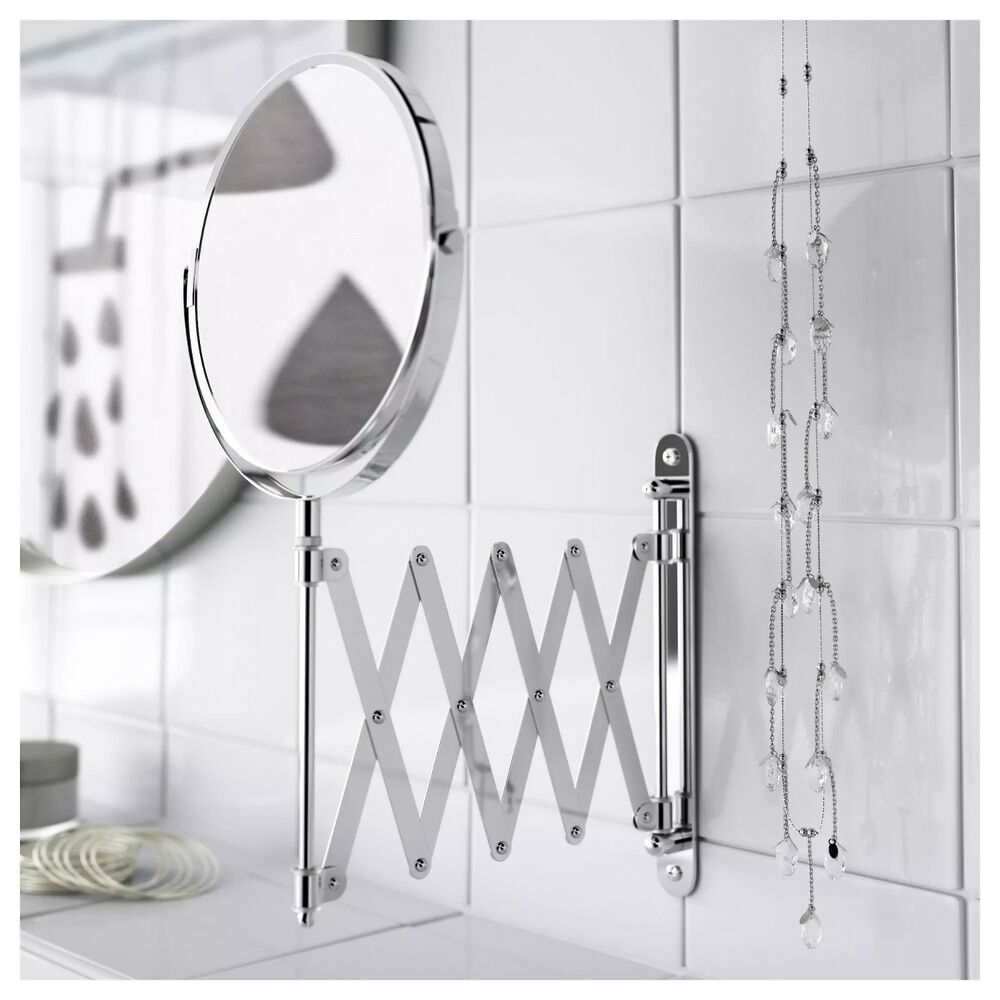 telescoping mirror for bathroom new ikea frack extendable stainless steel magnifying 20780