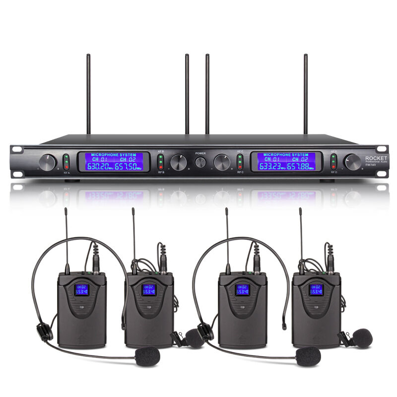 rocket 4 channel uhf lavalier lapel wireless microphone system mic with headset ebay. Black Bedroom Furniture Sets. Home Design Ideas