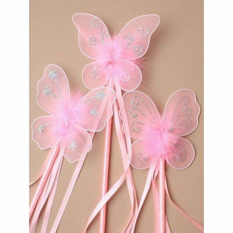 Girls kids butterfly princess fairy wand glitter ribbons for Butterfly wands wholesale