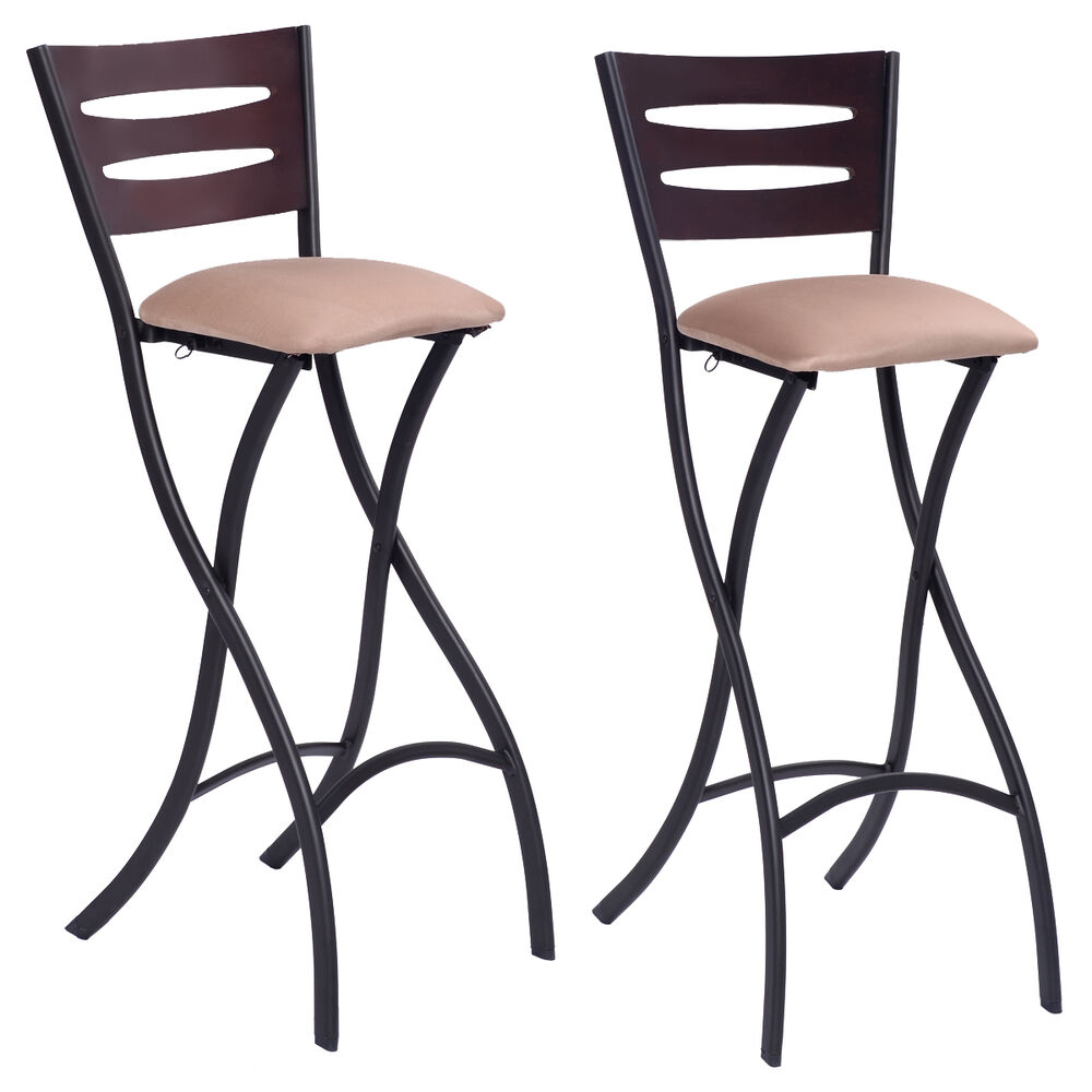 Set Of 2 Folding Counter Bar Stools Bistro Dining Kitchen