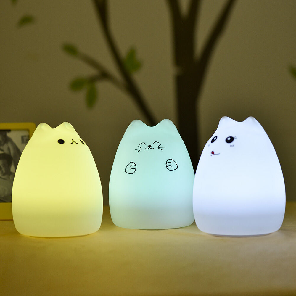 Squishy Cat Night Light : Colorful Cat kids LED Night Light Silicone Soft Baby Nursery Lamp Breathing?Xmas eBay