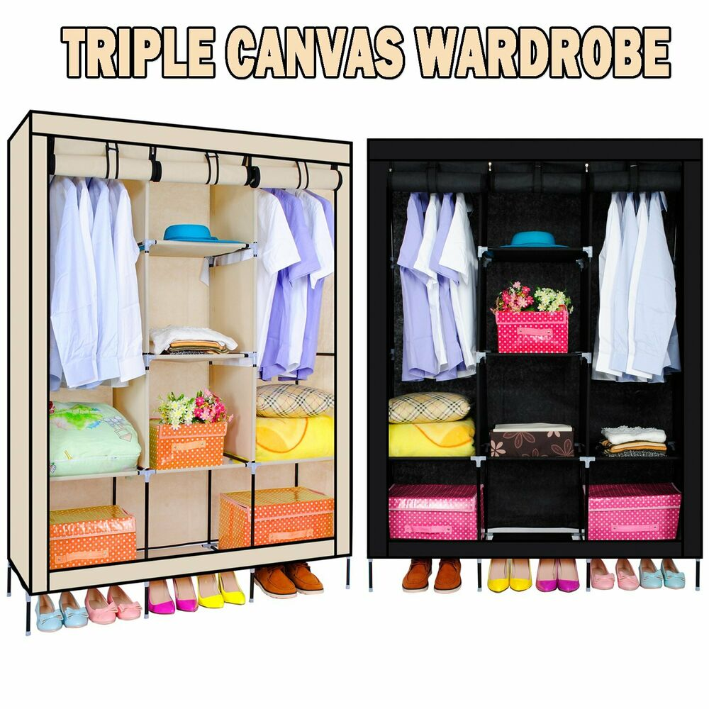 NON WOVEN PORTABLE CANVAS CLOTH WARDROBE CLOTHES STORAGE