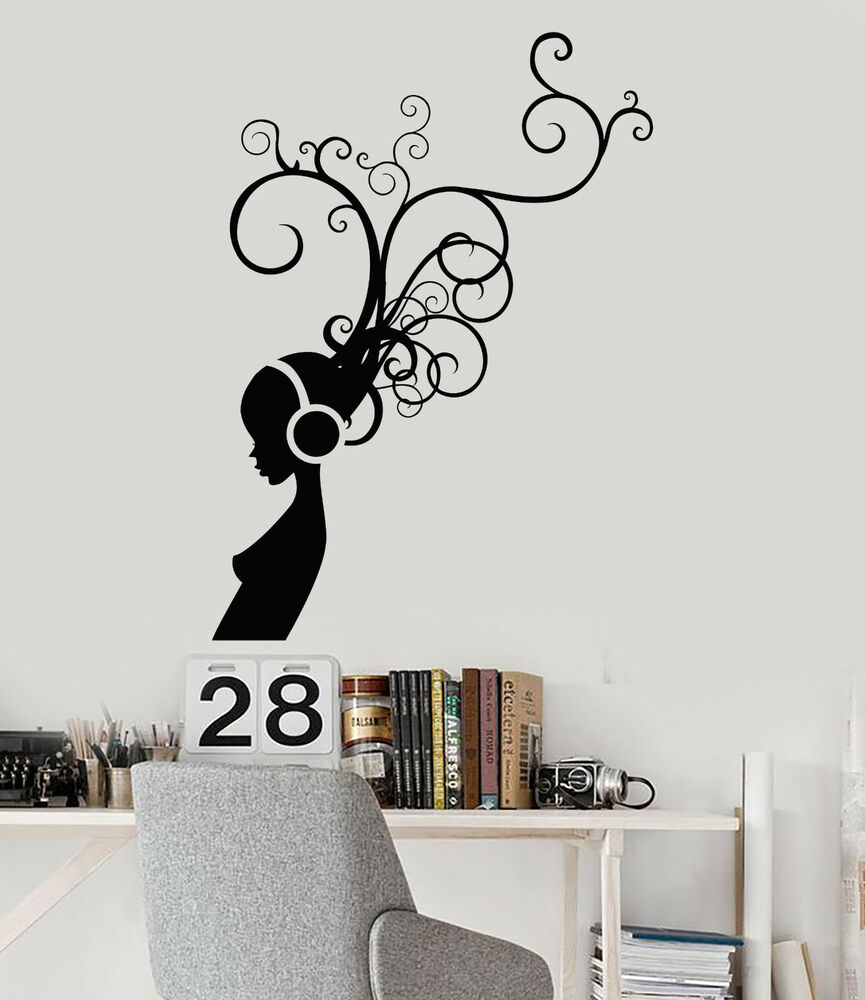 Details About Vinyl Wall Decal In Headphones Music Room Musical Art Stickers Ig3978