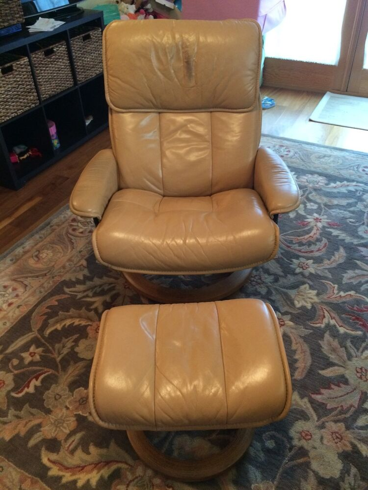 ekornes stressless recliner swivel leather chair with ottoman ebay